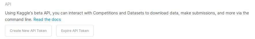 Раздел в настройках Kaggle с созданием токена